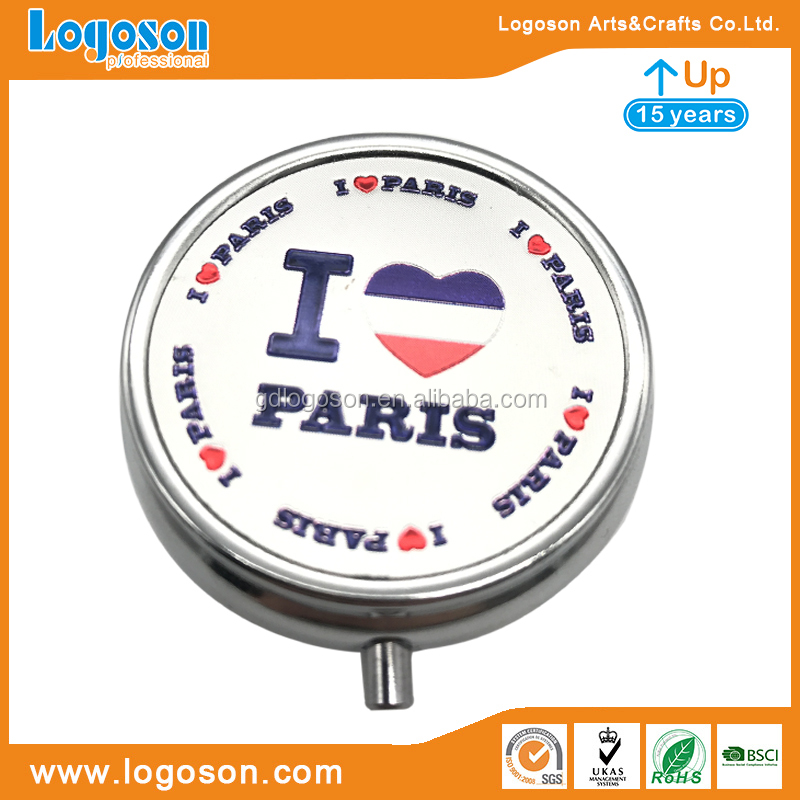 Paris Tourism Souvenir Pill Box with Lock Pill Box with Mirror Stainless Steel Pill Box