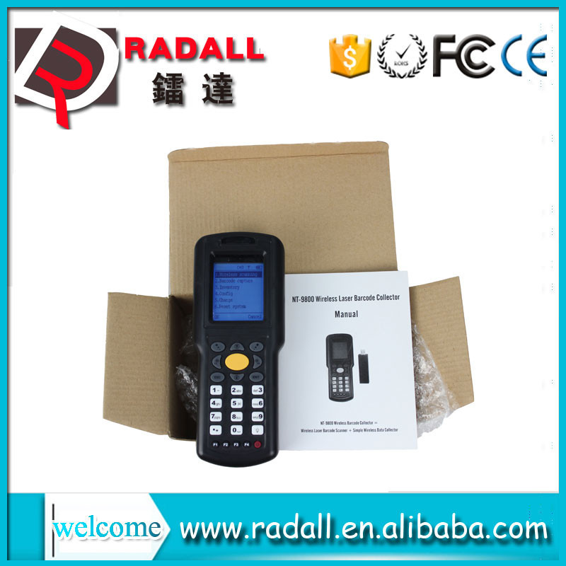 RD9800 wireless data collector thermal handheld laser code bar scanner upload data to excel with keyboard