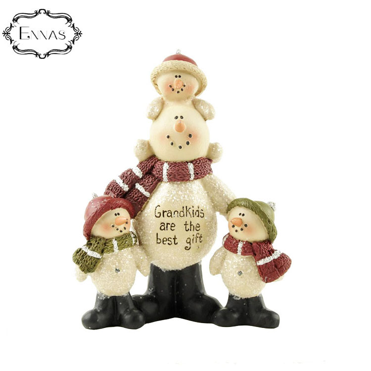 Happy and happy grandfather and three kids Christmas resin statue