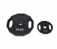 Gym fitness Black painted weight plates with hand grip iron cast weight plates