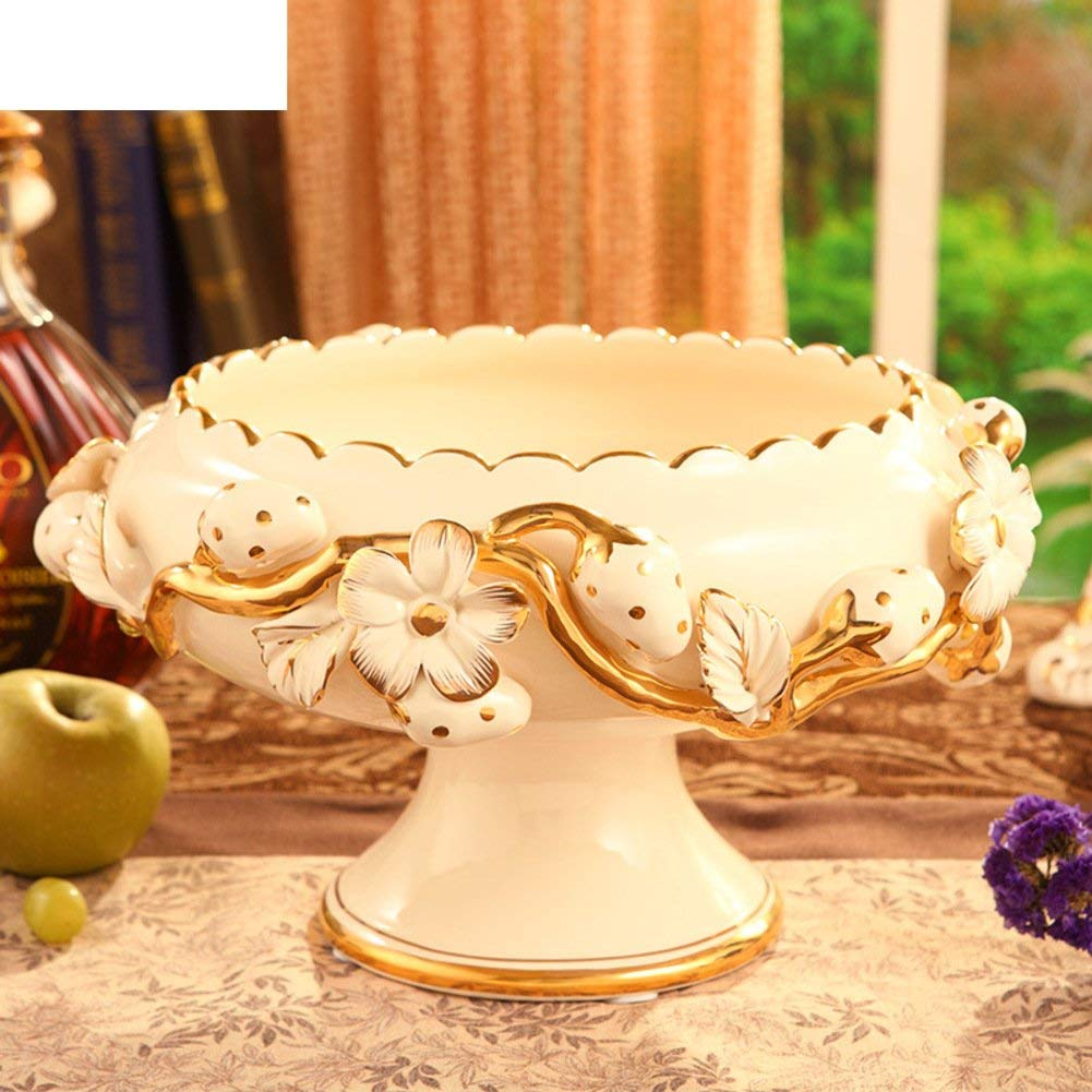 Fruit Plate,European Creative Living Room Of Luxury Household Ceramics Fruit Dish,Home Decoration, Wedding Gifts-A