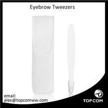 White Slanted Eyebrow Tweezers With PU Leather Case, White, TOPCOM