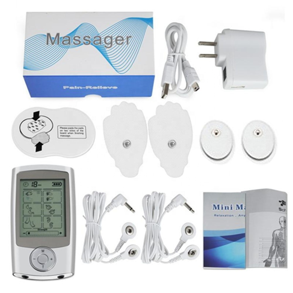 EMS Muscle Stimulator Massager Trainer Electric Dual Channel Output Electrical Nerve Digital Therapy TENS Pain Relief Pad