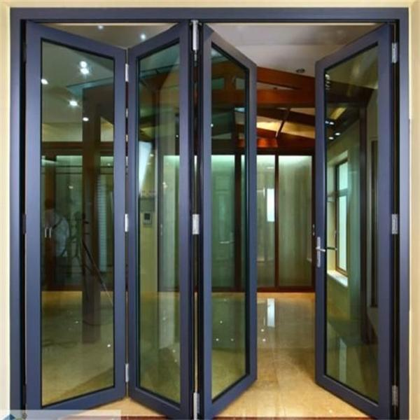 Aluminum glass folding door balcony folding door folding for Sliding glass wall price