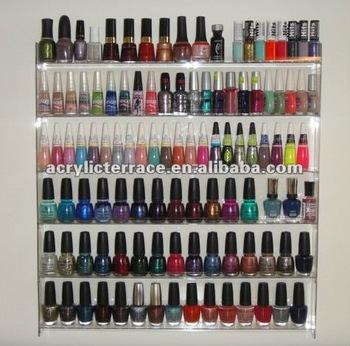 Clear Acrylic Wall Mounted Nail Polish Display Shelves
