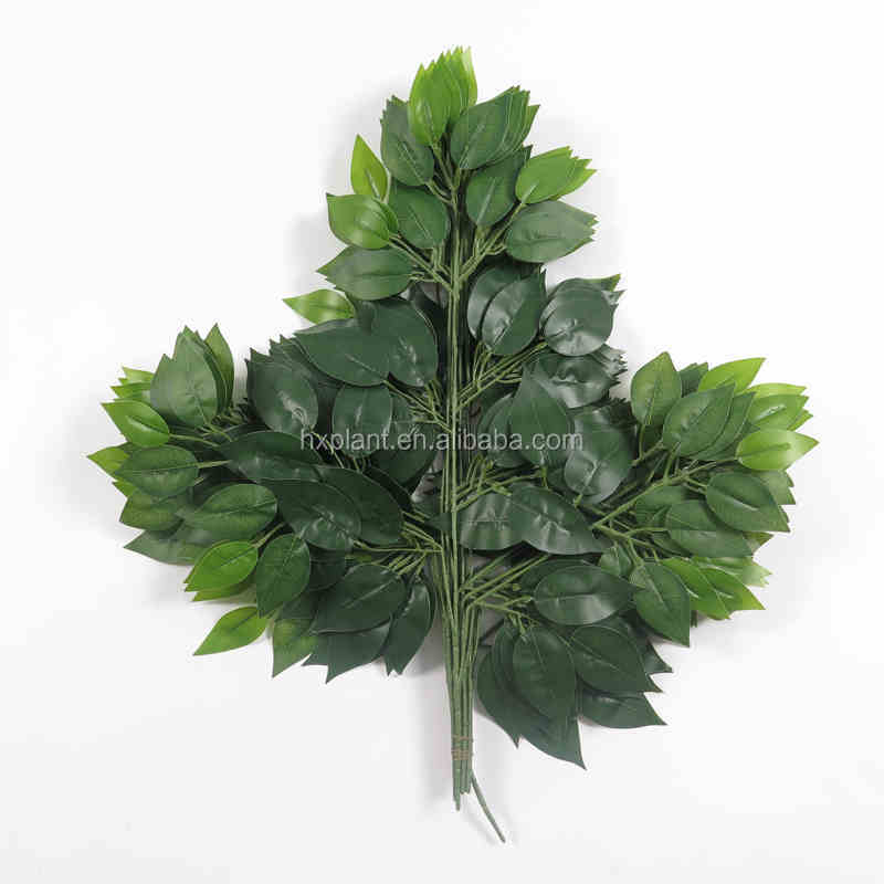 2016 wholesale artificial leaves golden banyan artificial leaves for decoration artificial big green leaves
