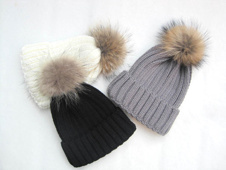 58b68c9c466 Buy 2015 winter hat with fur ball 15cm big raccoon fur pom pom hat knitted winter  hats for women beanie winter hat with fur men in Cheap Price on m.alibaba.  ...