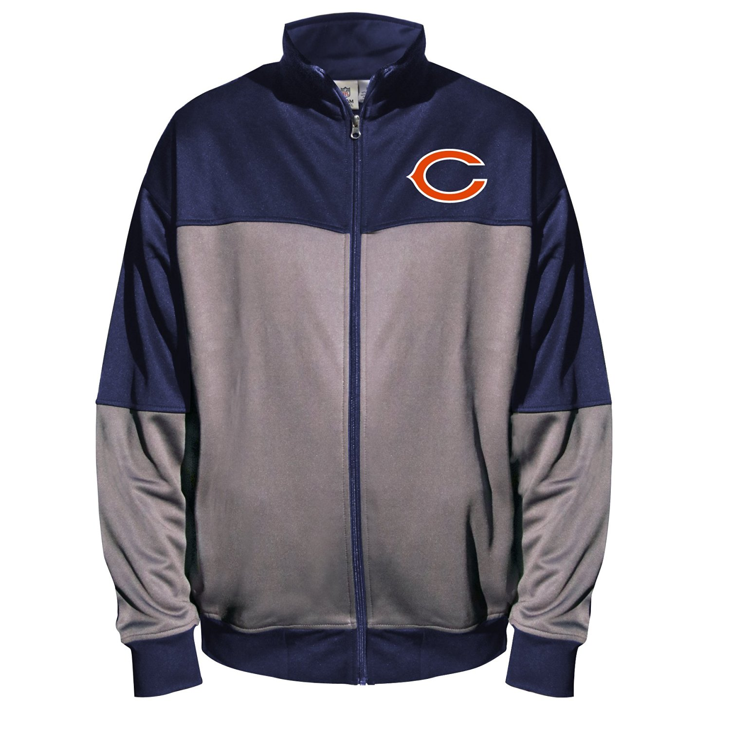 NFL Chicago Bears Unisex Poly fleece Track Jacket, CHARCOAL/Navy, 4X/Tall