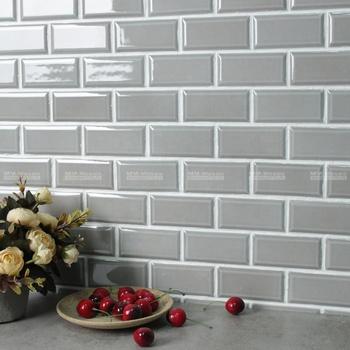 Home Decor Wall Pantry Kitchen 2 X4 Beveled Edge Subway Ceramic Tile Grey