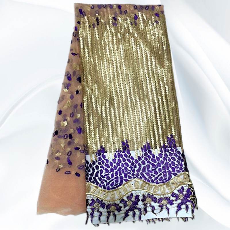 JN20-2 Purple+Gold African Net Lace Fabric Latest Net Lace Wholesale French Swiss Voile Lace Fabric Online