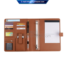 Executive Zippered Custom หนัง Padfolio 3 - Ring Binder
