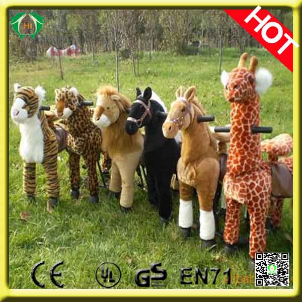 HI CE popular playful ride on horse toy pony mechanical walking plush horse ride-on