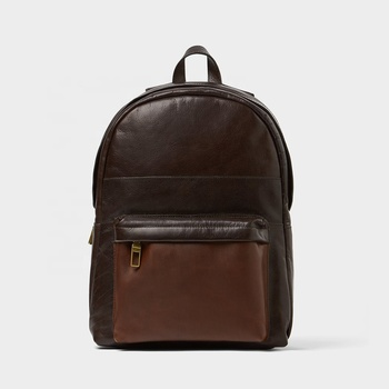 Fashion tan suede trim unlined genuine 13 inch laptop back pack mens brown backpack