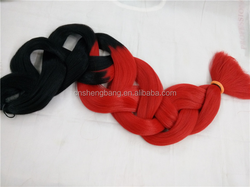 120g two-tone dip color ultra braid high temperature braiding hair T1B/RED