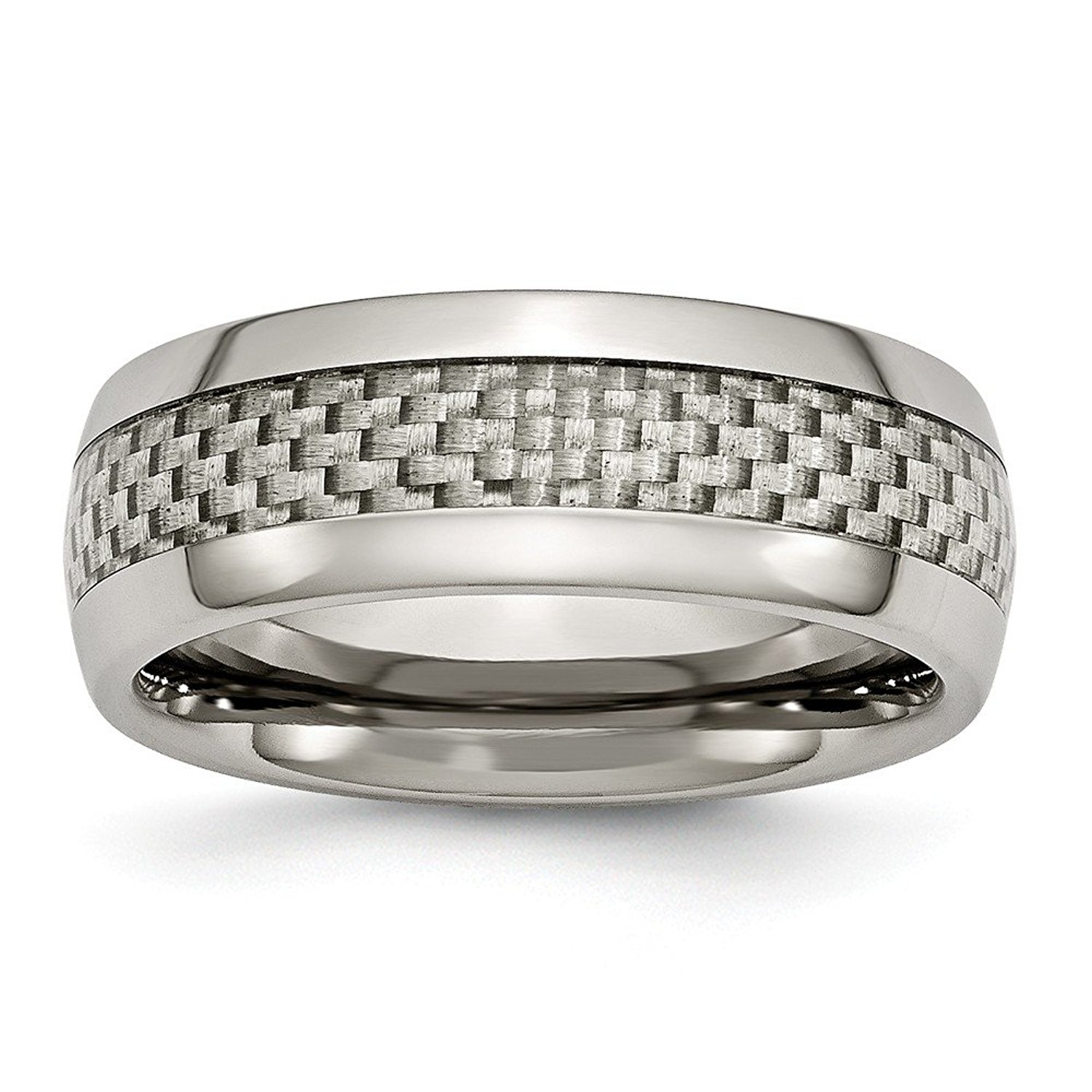 Brilliant Bijou Titanium 8mm Grooved Satin /& Polished Band