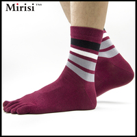 Hand linking sweat absorbent combed cotton men's five toe work socks