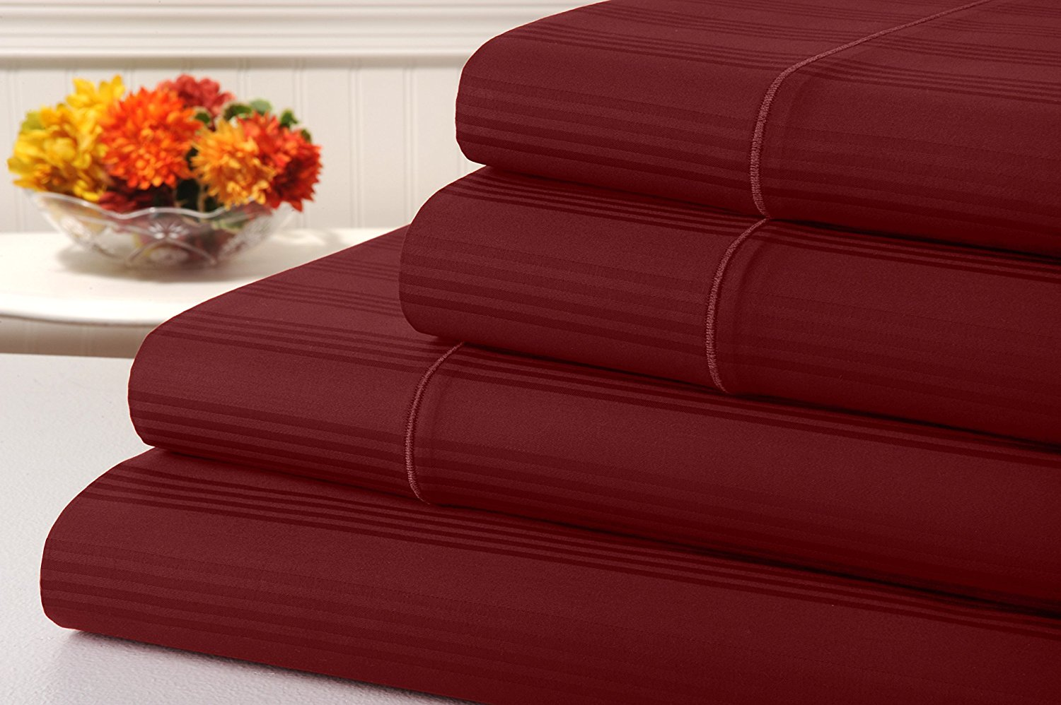 kathy ireland 400 Thread Count 100% Cotton Stripe Bed Sheet Set, Bed Sheets 4 Piece Set, Long-staple Combed Pure Natural Cotton Bedsheets, Soft & Silky Sateen Weave by Home (Queen, Tango Red)
