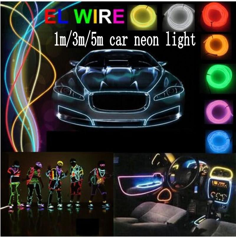 1m 3m 5m flexible led neon light car el wire glow rope tube cable 12v inverter car cigarette. Black Bedroom Furniture Sets. Home Design Ideas