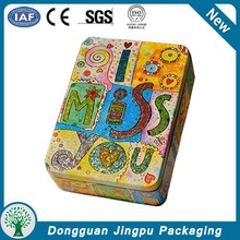 Unique design metal tinplate chest lid tin box for cosmetic