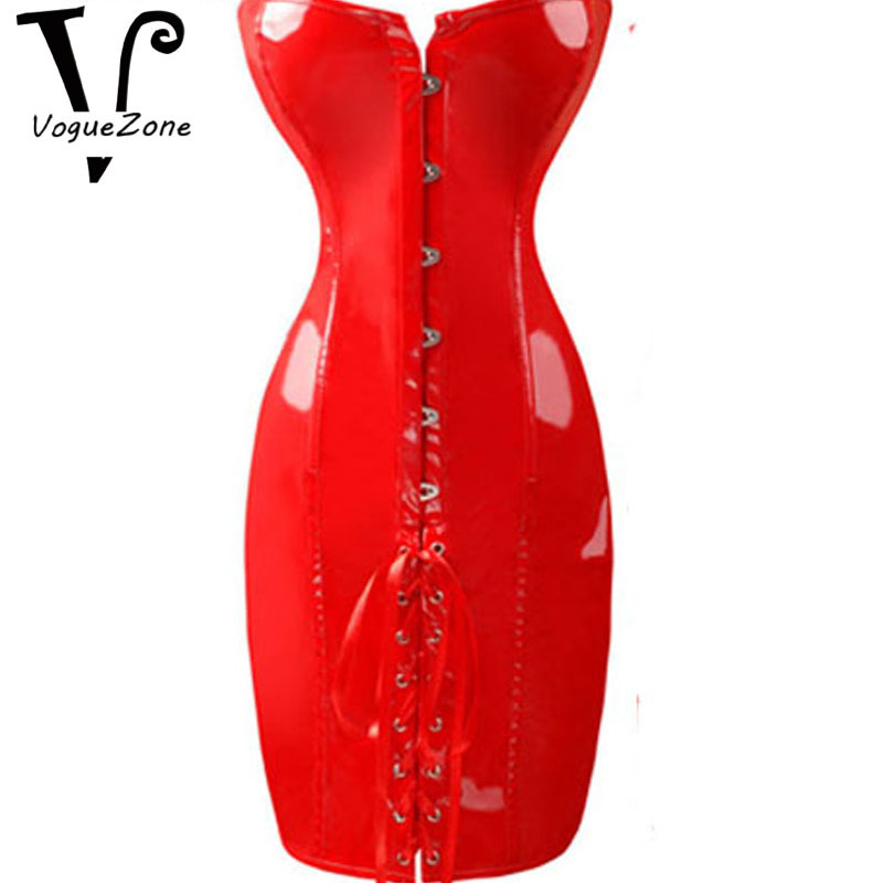 Waist Training Corsets Black Red Leather Corset Long Corset Dress S M L XL  XXL Plus Size Steampunk Corset