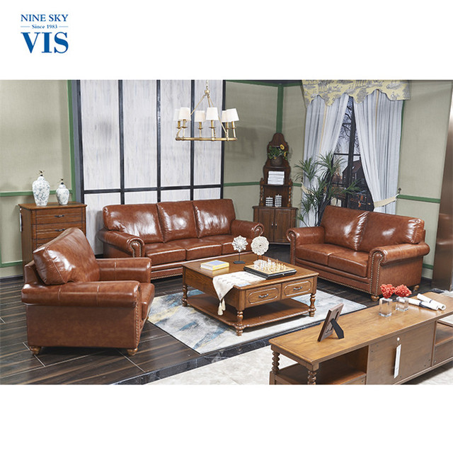 Ninesky Brand Cowhide Cheap Wooden Sofa Set Leather Cushion Designs Modern