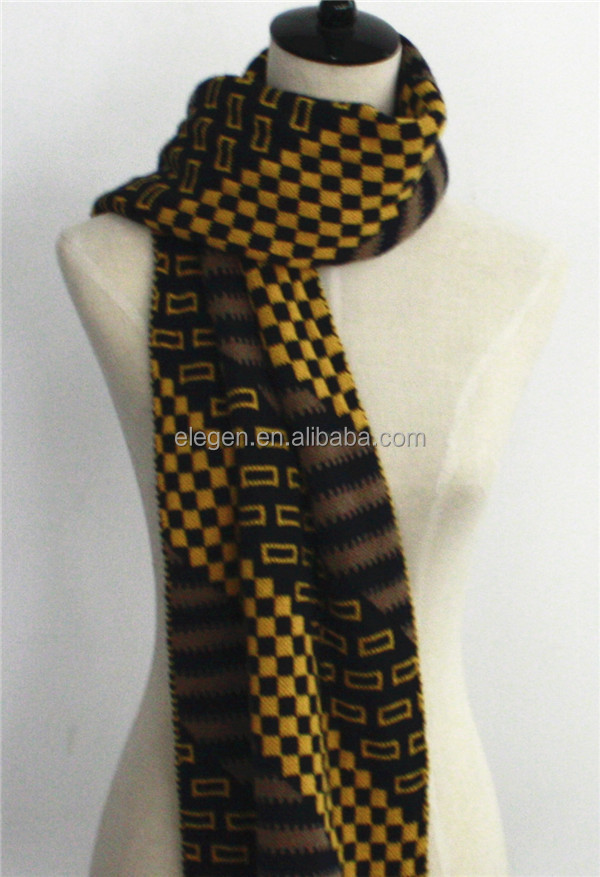 Men Fall/Winter Knitted Acrylic Thick Scarf