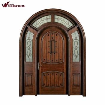 Villa Luxury Arch Solid Wood Door For Entry Door With Glass Buy