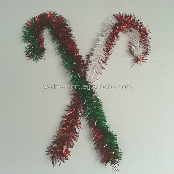 24 inch Red Green Christmas Wire Tinsel Candy Cane Decoration