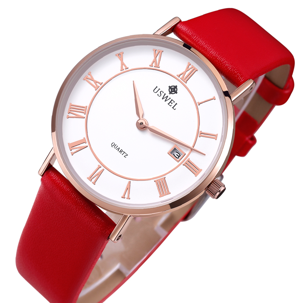 Minimalist Big Face Genuine Leather Strap Ladies Wrist Watches Women