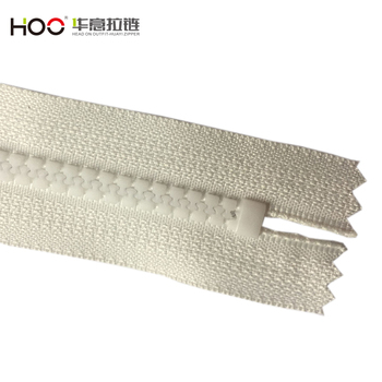 High quality costume coat white plastic zipper