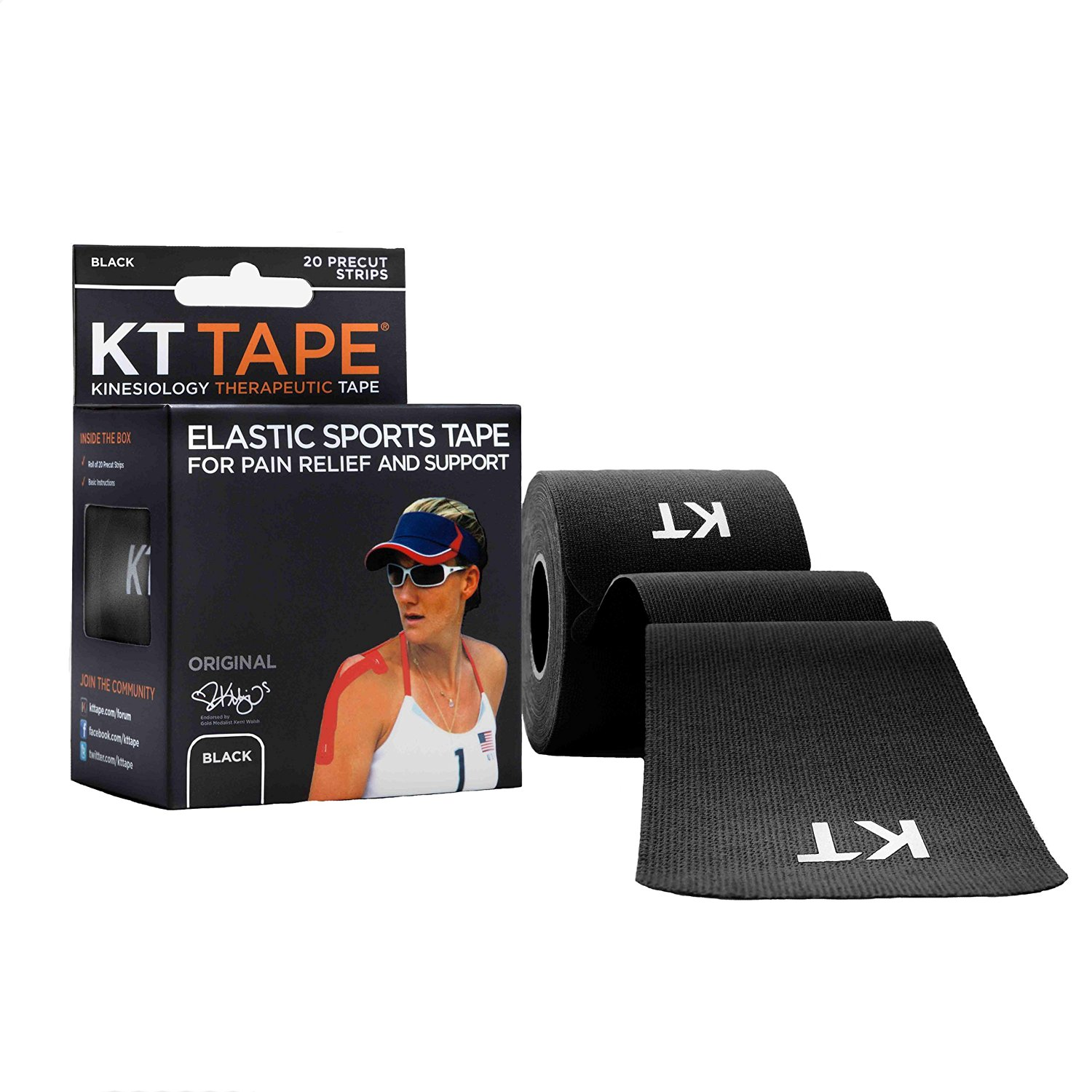 KT TAPE Original Cotton Elastic Kinesiology Therapeutic Sports Tape, 20 Precut 10in Strips, Breathable, Free Videos, Pro & Olympic Choice