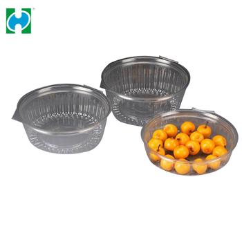 Plastic Disposable Salad Container Fruit Punnet With Flat Lid