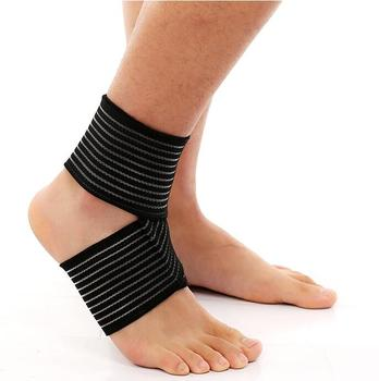 Sports Ankle Support Bandage Band Elastic Brace Wrap For Foot Pain Relief Black Buy Ankle Support Bandage Bandage
