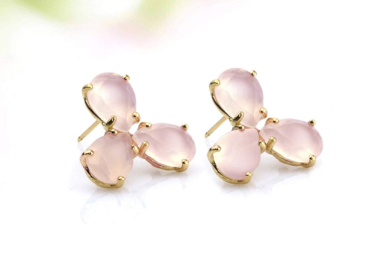 Triple rose quartz earrings,teardrop earrings,post earrings,prong setting earrings,gold earrings,gemstone earrings