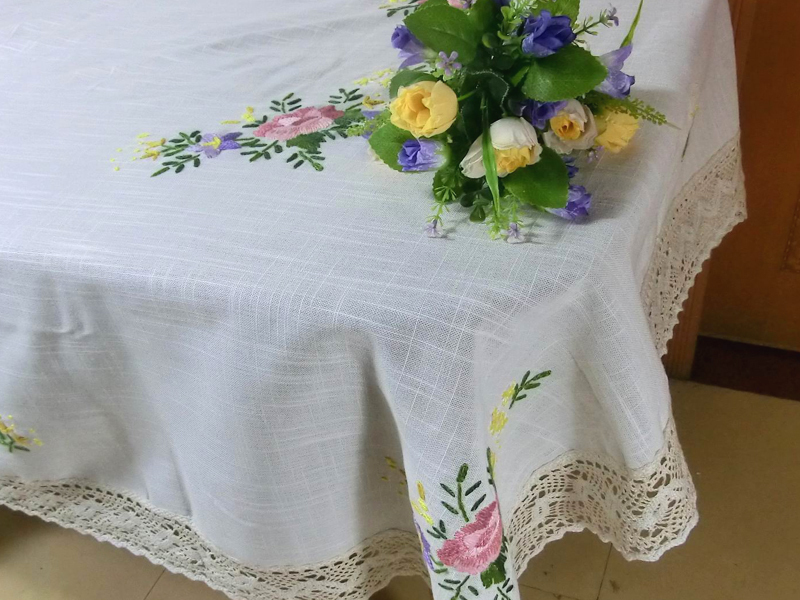 acheter 51 x 68 vintage dentelle nappe en lin main crochet color fil. Black Bedroom Furniture Sets. Home Design Ideas
