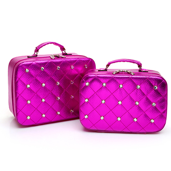 Diamond portable large capacity 2 pieces set travel cosmetic bag case korean version pu leather makeup cosmetic case bag