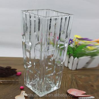 Handmade Square Shaped Crystal Glass Vase Large Square Glass Vases