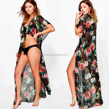6f290db900a Muslim Girls Ladies European Swimwear Floral Maxi Kimono Beach Long Cover  Up Dress For Sexy Mature