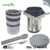 Food Grade Insulated 18/8 Stainless Steel Thermos Food Container With Folding Spoon Or Fork Inner Three Small PP Containers