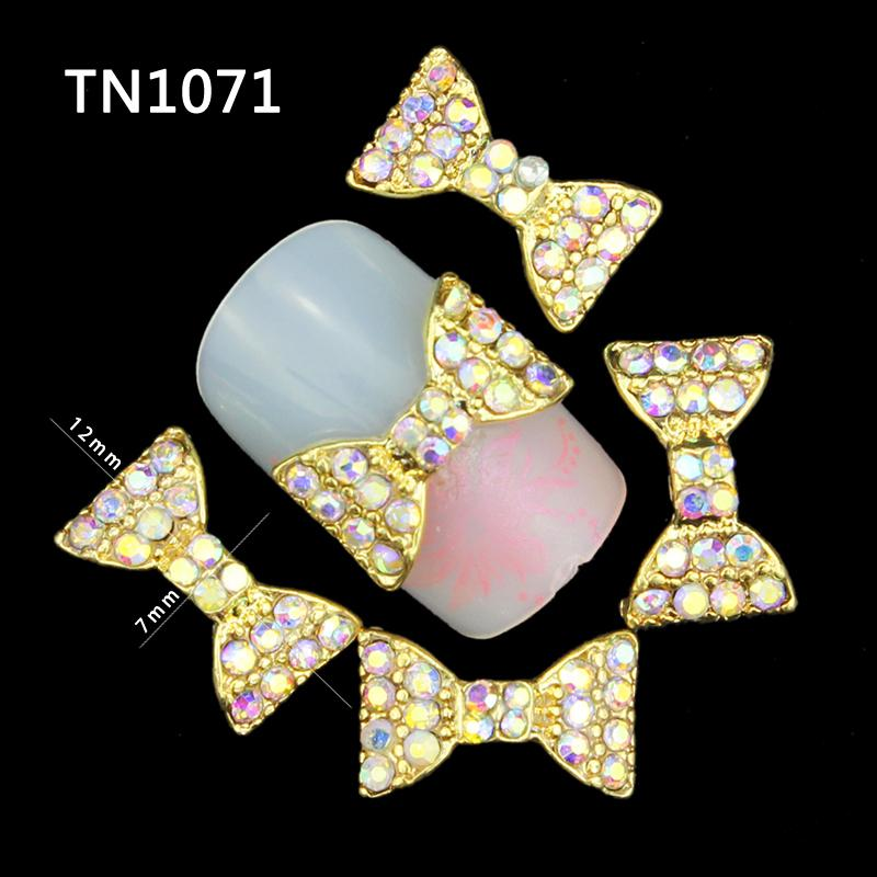 10 Pcs Glitter Gold Bow 3D AB Colorful Rhinestones For Nail Art Decorations On Gel Polish