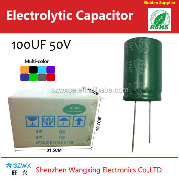 100 uf 50v Radial Aluminum Electrolytic Capacitor Size 8*12mm Long Life 5000 Hours Capacitor