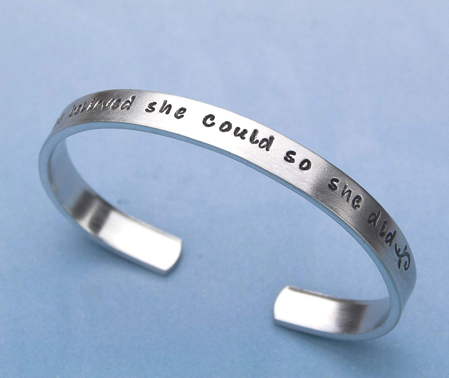 "Inspirational Bracelet, Quote Jewelry, She Believed She Could So She Did Hand Stamped Bracelet, Aluminum 6"" Cuff, Graduation Gift, Gift for Her"