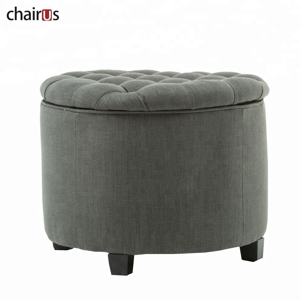 Stool Velvet Foot Rest Chair Storage Fabric Tufted Furniture Seat Round Wood Leg Pouf Ottoman
