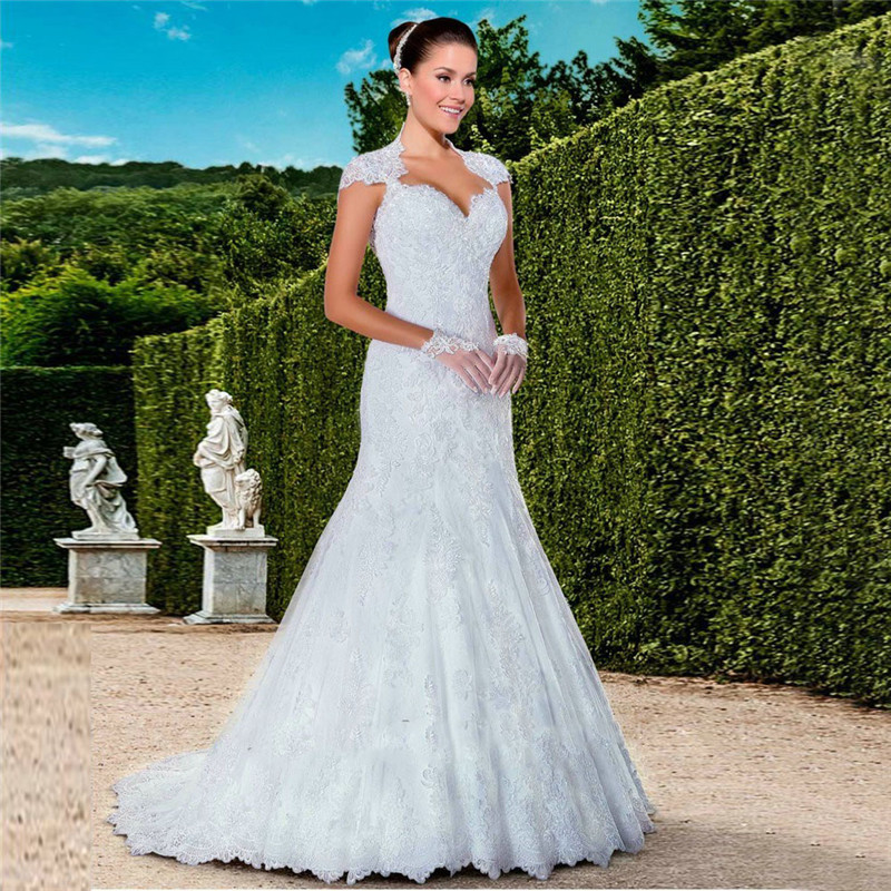 Sweetheart Wedding Dress With Cap Sleeves: Elegant Lace Mermaid Wedding Dress 2016 New Design White