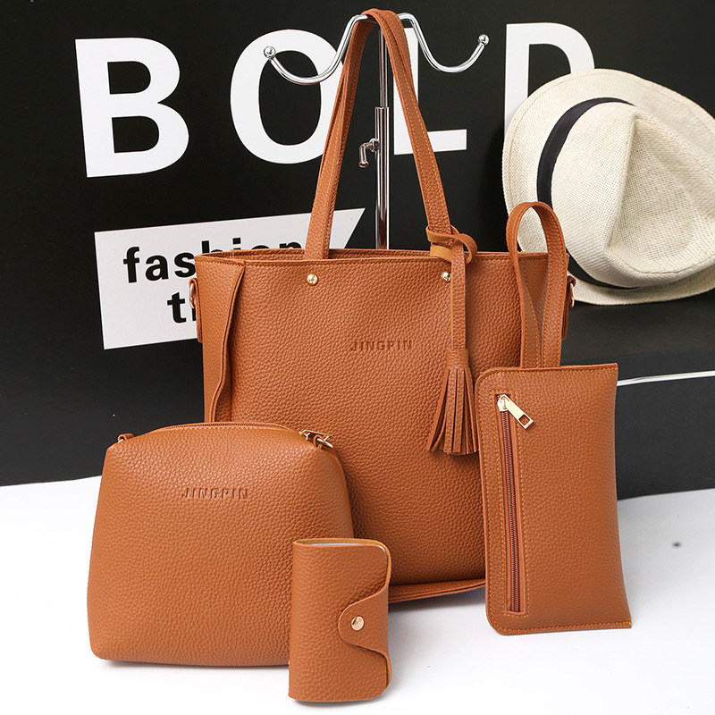 2018 fashion design lady shoulder casual totes small messenger 4 pieces set leather bag
