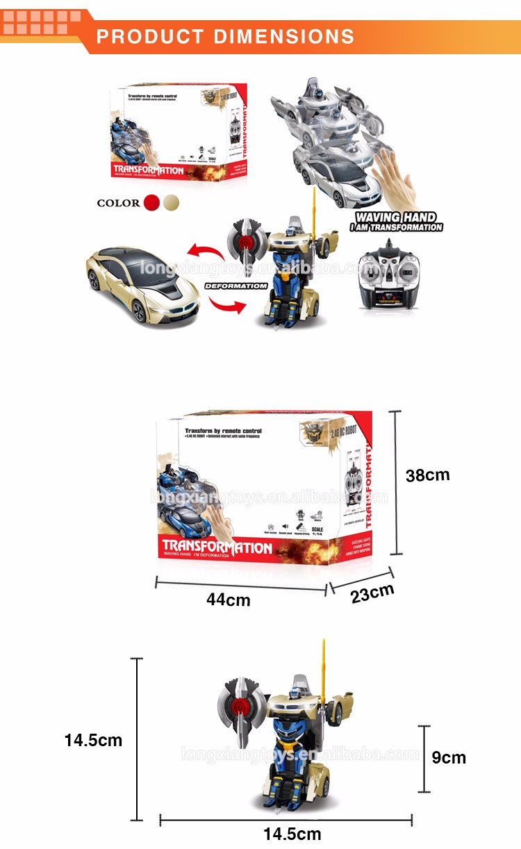 New design red and golden funny magic inducted and one-key deformation remote control trans robot toy car with music for kids