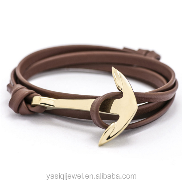 New designs for men leather rope bracelets bangle rose gold plated stainless steel bracelets