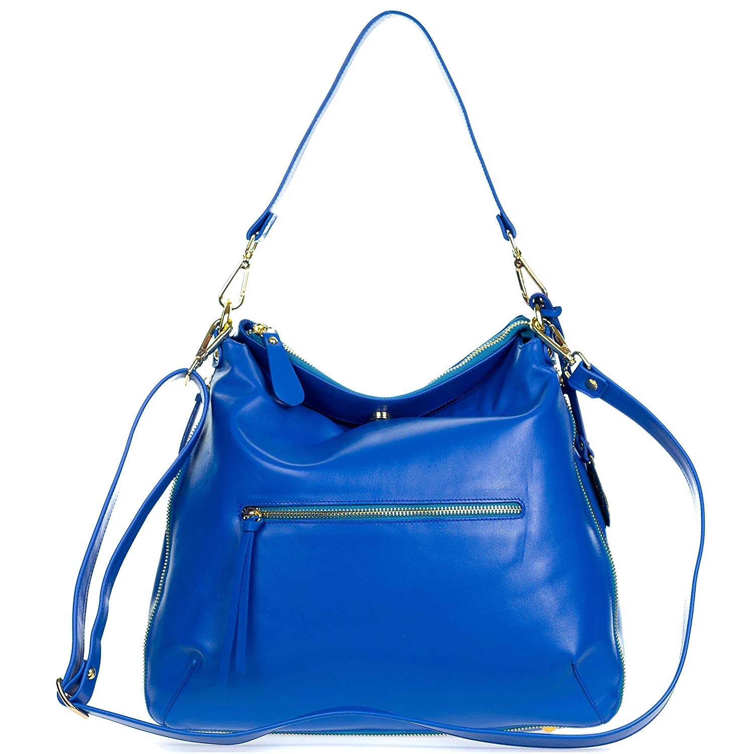 Get Quotations Giordano Italian Made Blue Leather Hobo Bag With Pocket