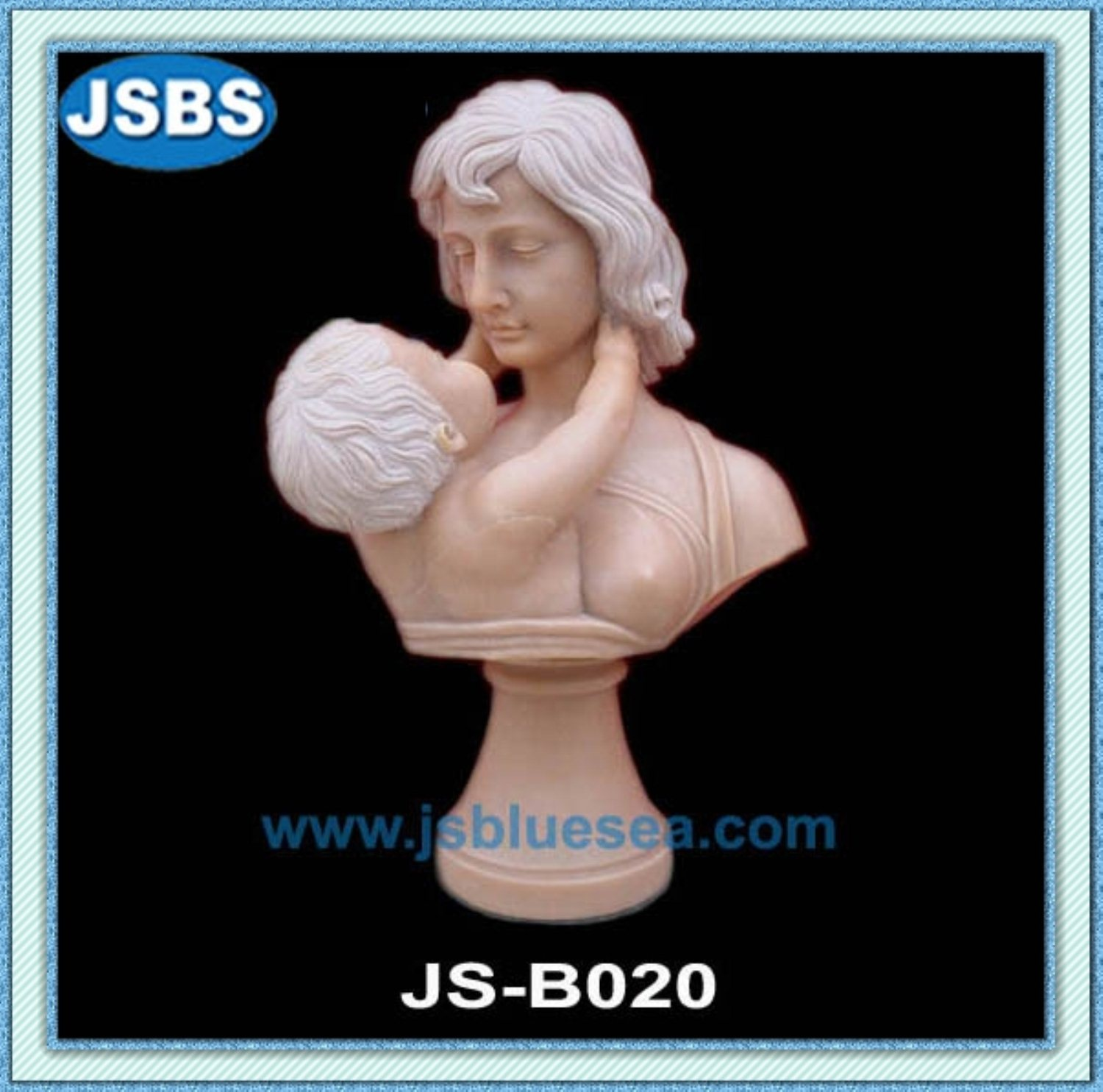 Natural Stone Carved Nude Mother And Child Portrait