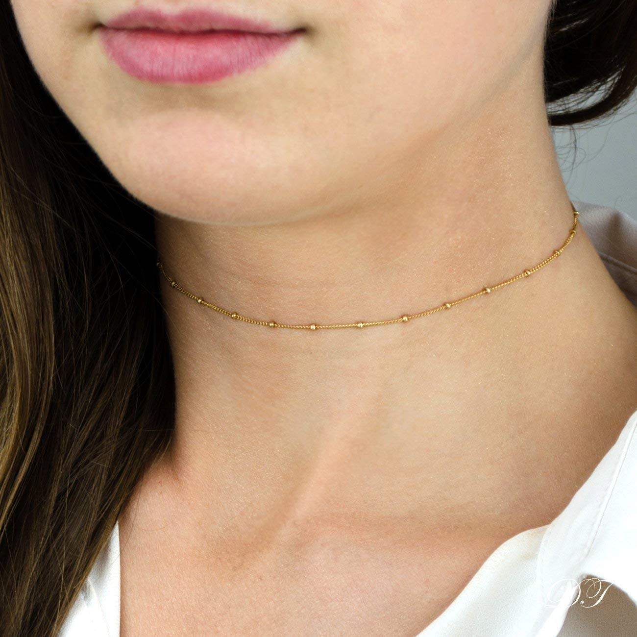 Dew Drops choker Necklace, Dainty Gold Chain Choker Necklace, beaded Chain Choker, Gold Choker, Dainty Choker, Thin Choker, Delicate Choker